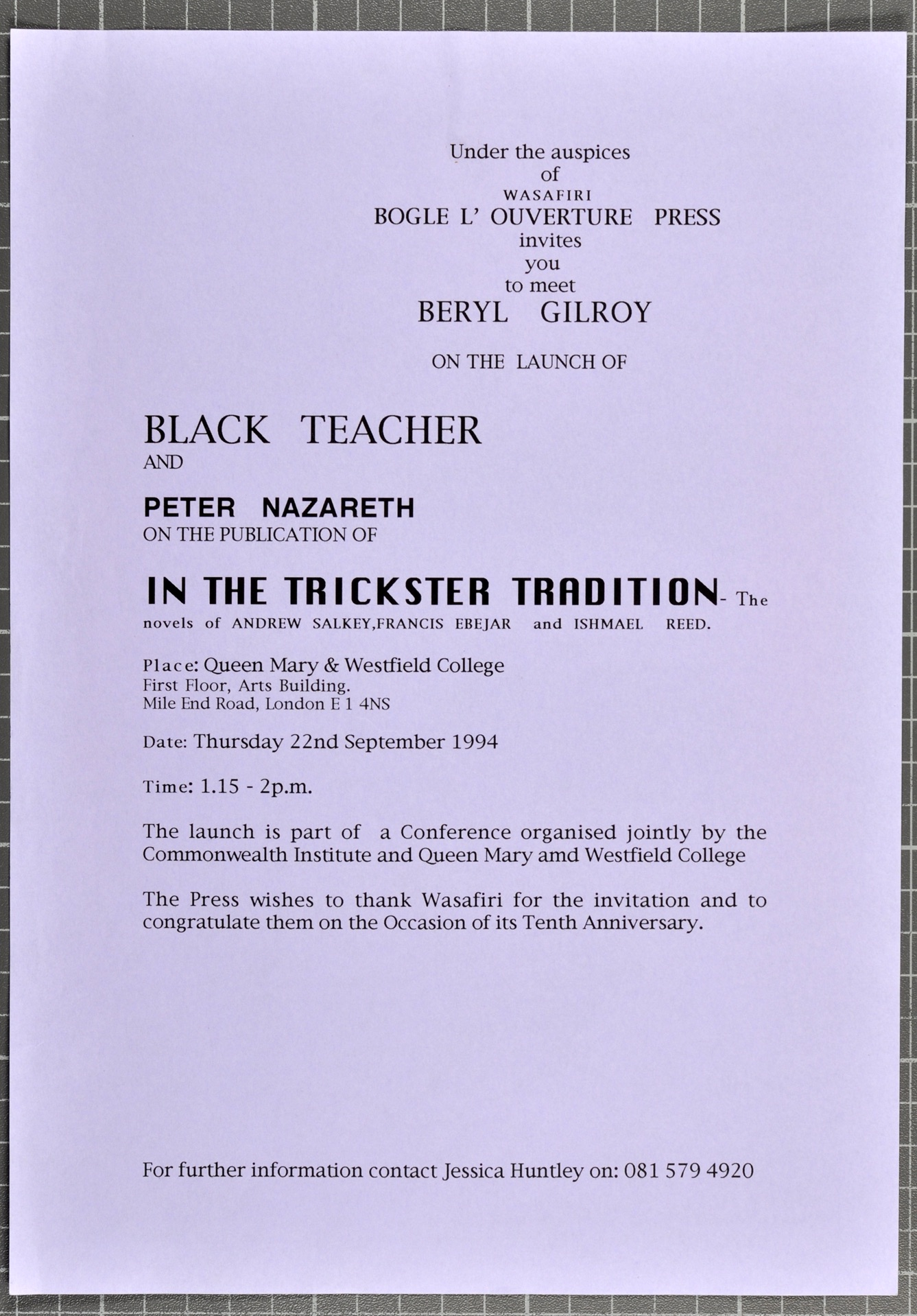 In the Trickster Tradition _ Black Teacher (book launch). 22nd Sept. 1994. Huntley Archives at Londo