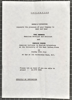 _09 Invite to hear Toni Bambara _ Carolyn Cooper at 141 Coldershaw Rd. c1970s. Huntley Archives at L
