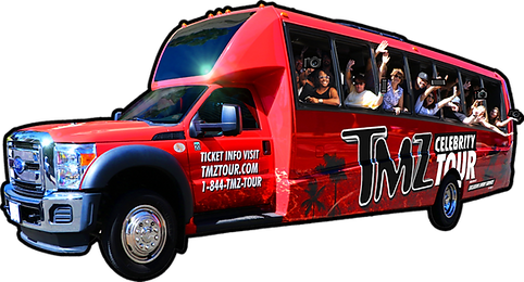 TMZ Tour bus with smiling group and flashing cameras.