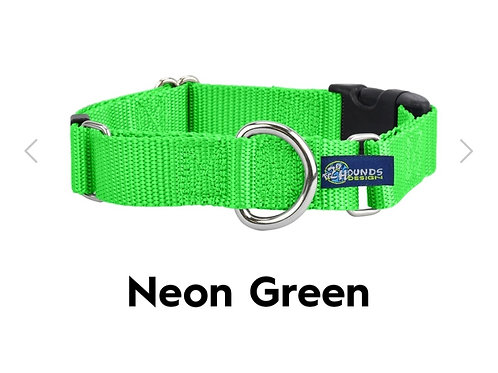 """5/8"""" Wide Solid Colored Buckle Martingale Collar (Neon Green)"""