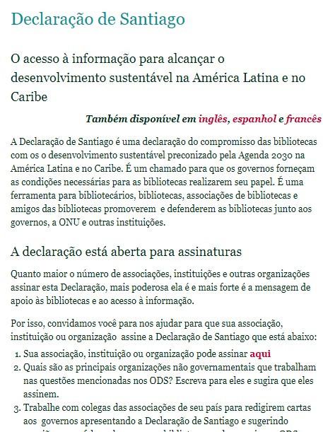 DECLARAÇÃO de Santiago: o acesso à informação para alcançar o desenvolvimento sustentável na América Latina e no Caribe