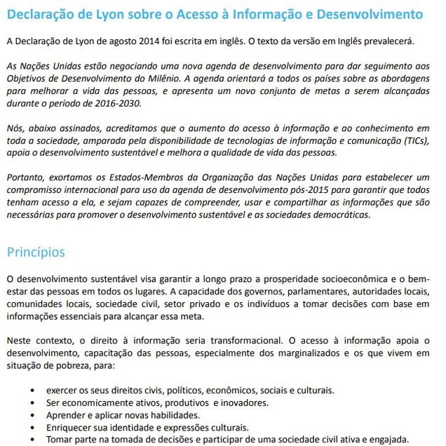 DECLARAÇÃO de Lion sobre o Acesso à Informação e Desenvolvimento, 2014. Lion: IFLA