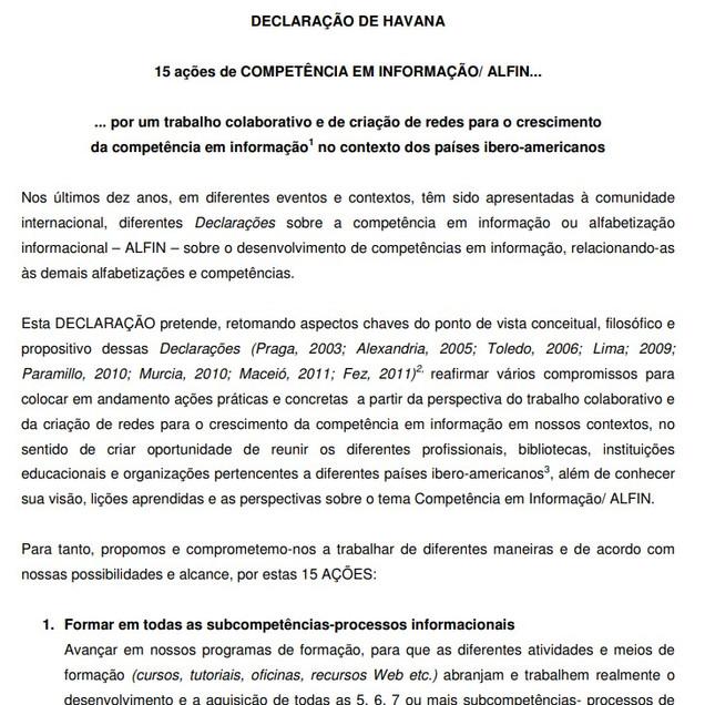 DECLARAÇÃO de Havana 15 ações de Competência em Informação, 2012. Havana