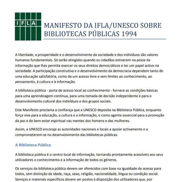 MANIFESTO IFLA/UNESCO sobre bibliotecas públicas 1994. The Hague: IFLA