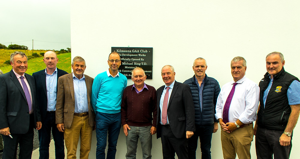 L to R Kilmeena GAA Club Chairman Willie Keavney, Club Treasurer Padraic Moore, Ex Councillor Michael Holmes, Councillor Peter Flynn, Councillor John O Malley, Minister for Rural & Community Development Michael Ring T.D, Vice Chairman of Mayo GAA County Board Seamus Tuohy, Councillor Christy Hyland and Club Secretary Ollie Mulchrone.