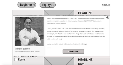 Author bio pop-up for credibility of the articles