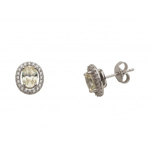 Viola Sterling Silver & Citrine Colour CZ Earrings