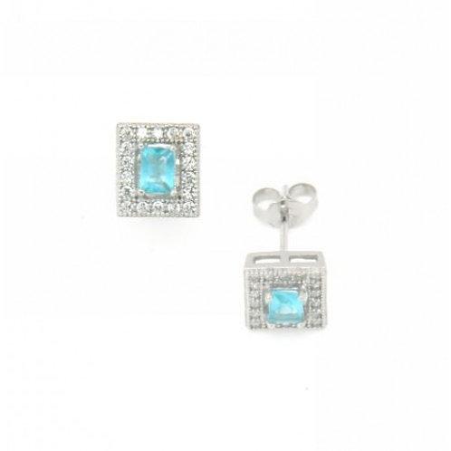Opalo Sterling Silver CZ & Aqua Earrings