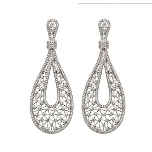 Pericles Sterling Silver Filigree & CZ Earrings