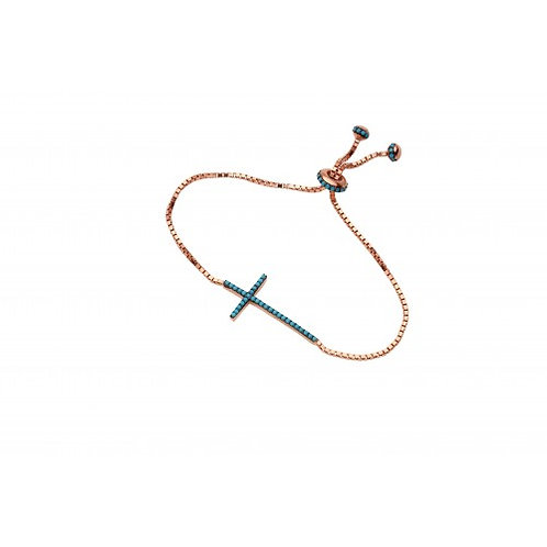 Aurora Sterling Silver Rose Gold & Blue Plated Cross Bracelet