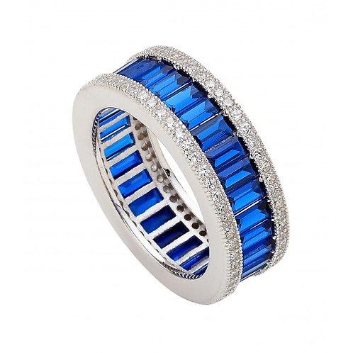 Pegaso Sterling Silver, CZ & Sapphire Colour Ring