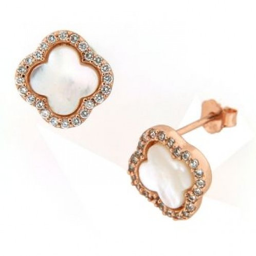 Orion Sterling Silver Rose Gold Plated Pearl Earrings