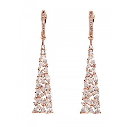 Cassius Sterling Silver Rose Gold Vermeil & CZ Earrings