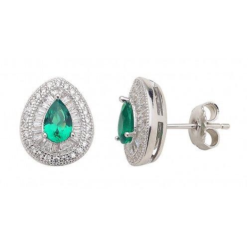 Delphinus Sterling Silver CZ & Emerald Colour Baguette Earrings
