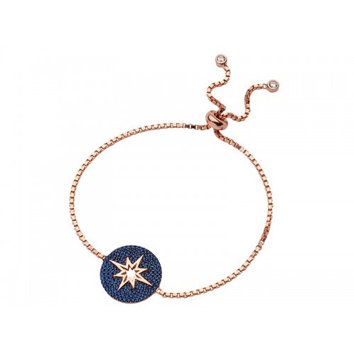 Vela Sterling Silver Rose Gold Plated & Sapphire Colour Bracelet