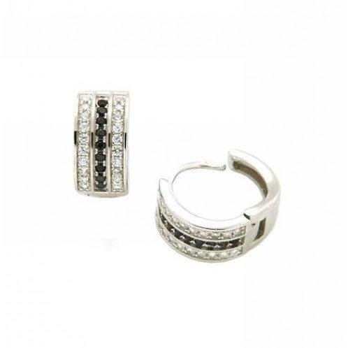 Cygnus Sterling Silver CZ & Black Earrings