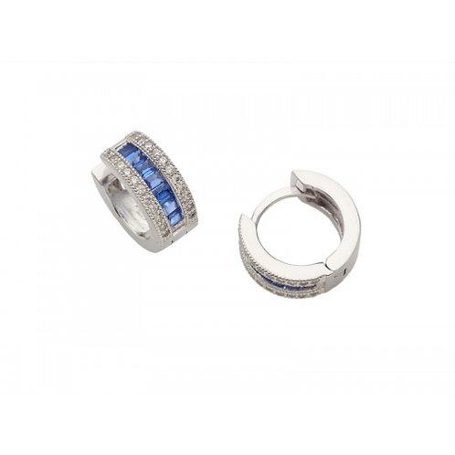 Ursa Sterling Silver CZ & Sapphire Colour Baguette Earrings