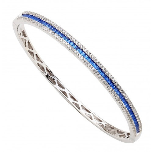 Orbita Sterling Silver Cubic & Sapphire Colour Bangle