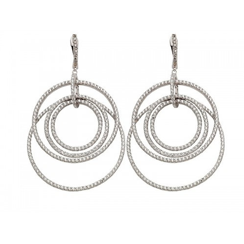 Saturno Sterling Silver & CZ  Drop Circle Earrings