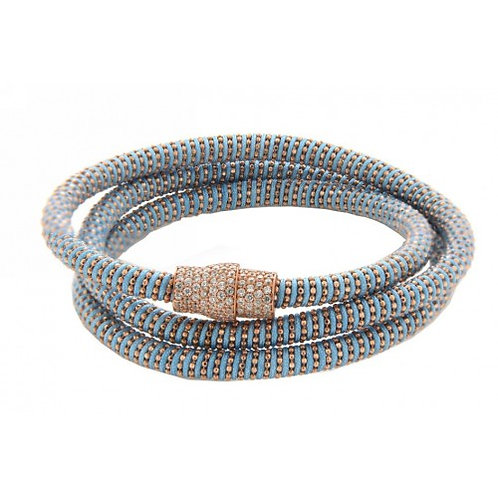 Apolo Sterling Silver Mesh Trio Bracelet - Aqua