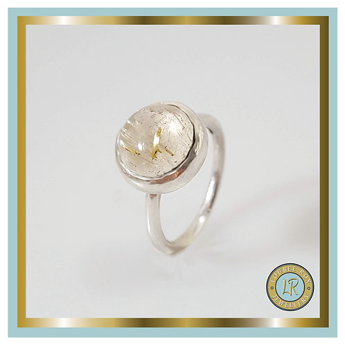 RUTILATED QUARTZ 10mm Cabochon Stacking Ring