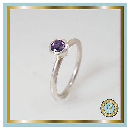 AMETHYST Faceted Stacking Ring
