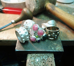 Finished jewellery on jewellers bench