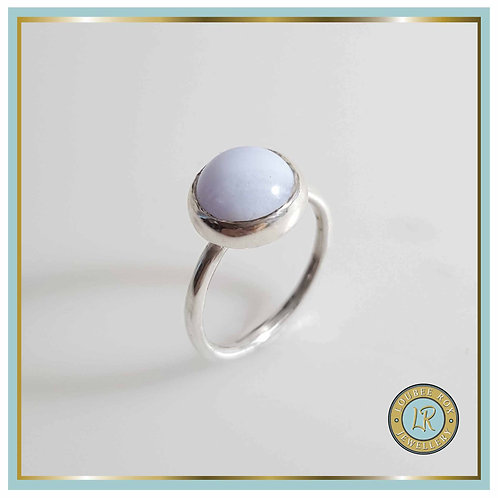 BLUE LACE AGATE 10mm Cabochon Stacking Ring