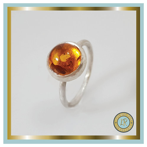 AMBER 10mm Cabochon Stacking Ring