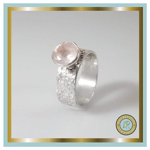 8mm Faceted Rose Quartz Ring