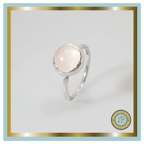 ROSE QUARTZ 10mm Cabochon Stacking Ring