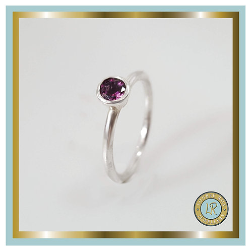 RHODOLITE Faceted Stacking Ring