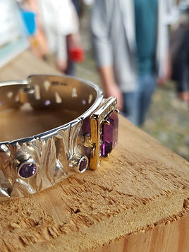 Gold, diamond, amethyst and silver bangle cuff