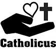 an opened up hand holding a heart with a cross beside it