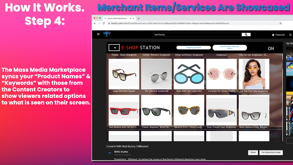 The Mass Media Marketplace syncs Creator & Merchant data to display related shoppable items.