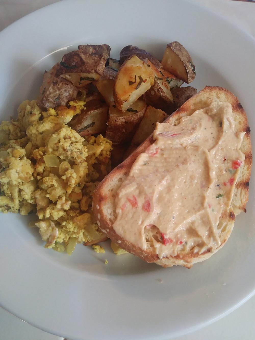 Tofu scramble breakfast plate