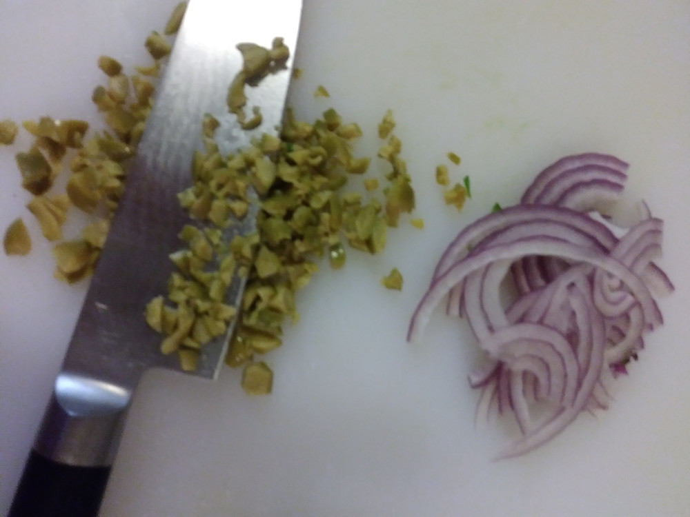minced olives and sliced red onion