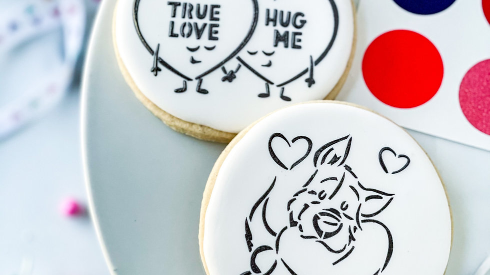 Paint-Your-Own Cookie 2  Pack, Puppy Love and Convo Hearts