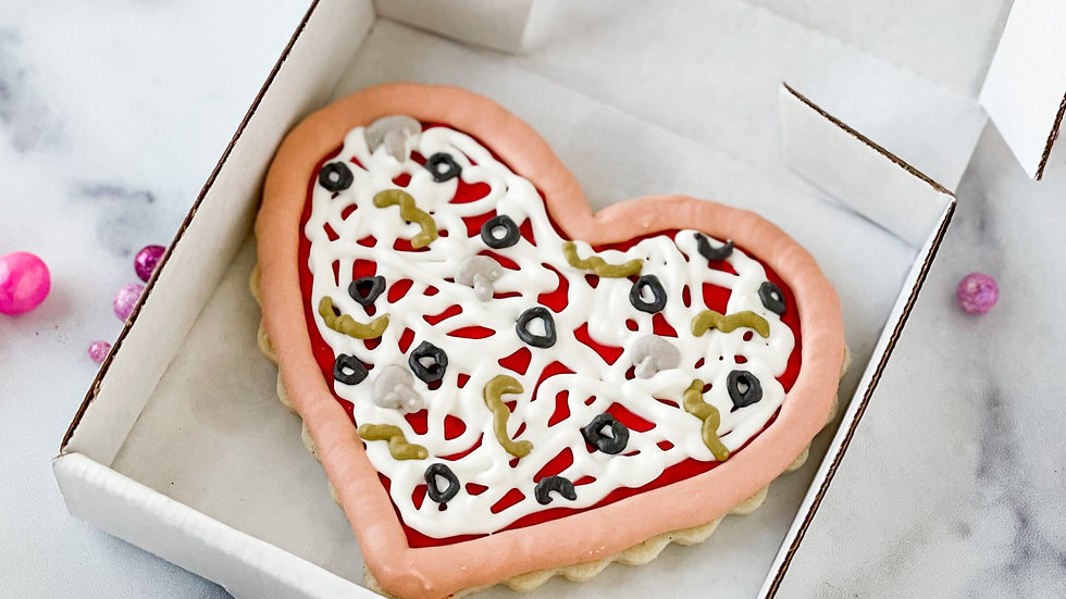 """You'll always have a pizza my heart"" Boxed Pizza Cookie"