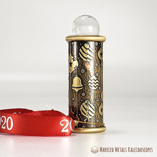 0008-1 - Etched Brass Christmas Teleidoscope Ornament