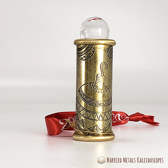 0005-4 - Etched Brass Christmas Teleidoscope Ornament