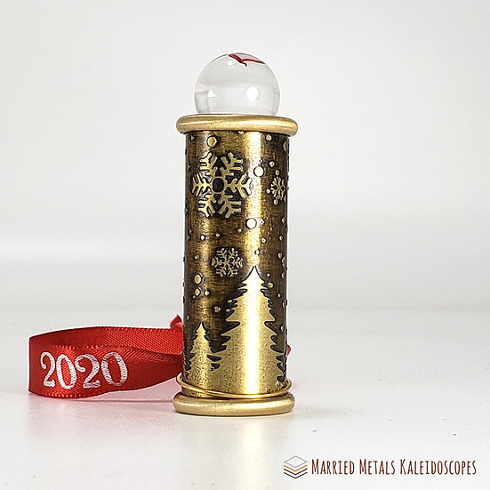 0009-4 - Etched Brass Christmas Teleidoscope Ornament
