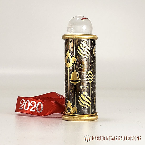 0008-2 - Etched Brass Christmas Teleidoscope Ornament