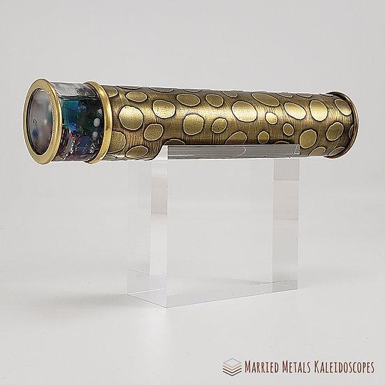 00027-1 - I See Spots Etched Brass Kaleidoscope  - Med Side-lite