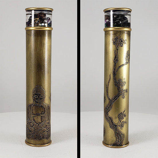 00025-2 Buddha Meditation Etched Brass Kaleidoscope Medium