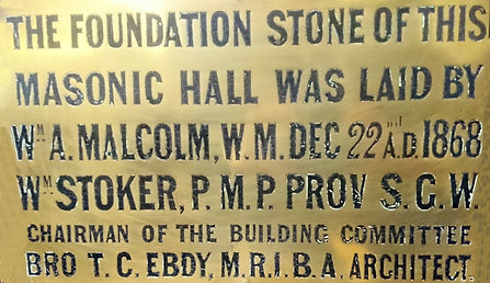 Plaque, marking the laying of the Foundation Stone of Durham Masonic Hall in December of 1868