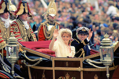 Prince Andrew and Sarah Ferguson leaving Westminster Abbey for Buckingham Palace.