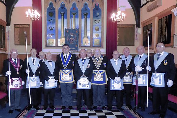 The Worshipful Master, WBro David Green ProvSGW, VW Bro Georgre Clarke PGSwdB, PDepProvGM and some of the officers for 2018