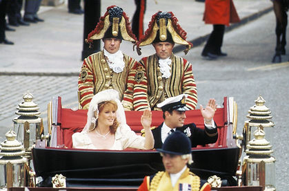 Prince Andrew and Sarah Ferguson en route to Buckingham Palace.