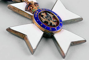 A close up image of the medal of the Royal Victorian Order.